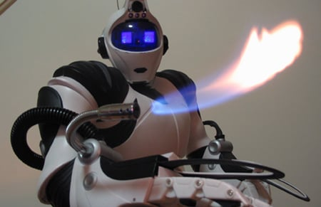 Robosapien Meets Flamethrower: Awesome Robot Hack!