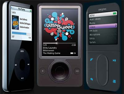 iPod and Zen Squeeze Zune