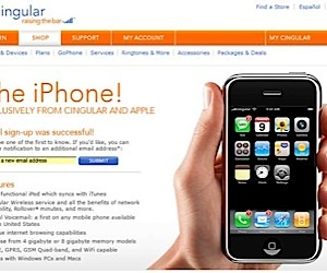 Cingular Posts iPhone Signup Page