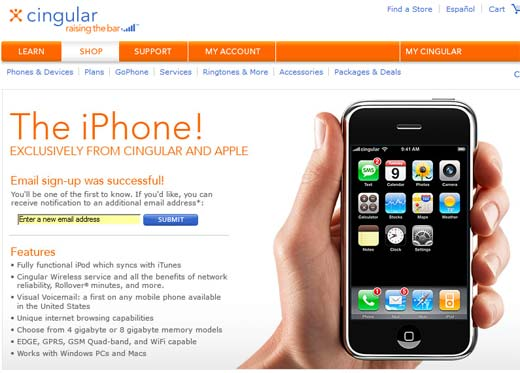 Cingular iPhone Page