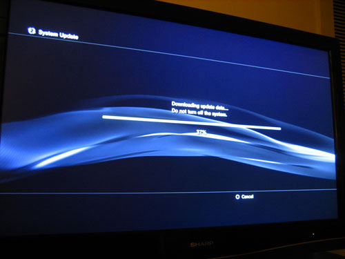 Sony PS3 System Update Screen