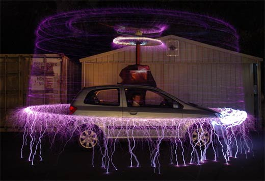 This Car Protected by Half a Million Volts of Electricity