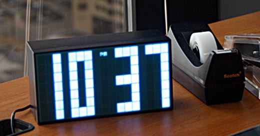 blue grey led clock