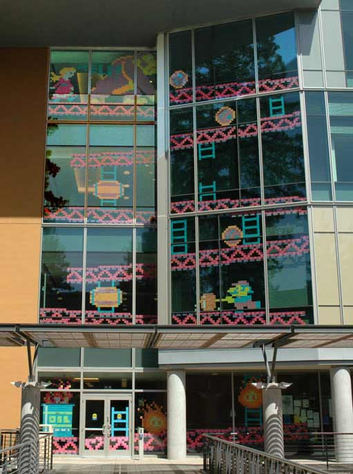 Donkey Kong Post-It Notes Installation