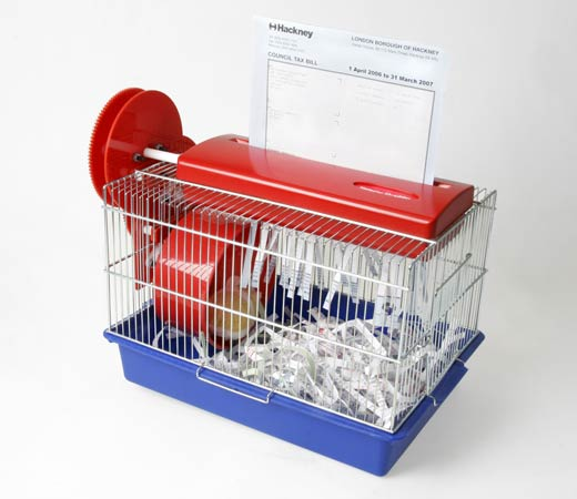 The Hamster Powered Paper Shredder