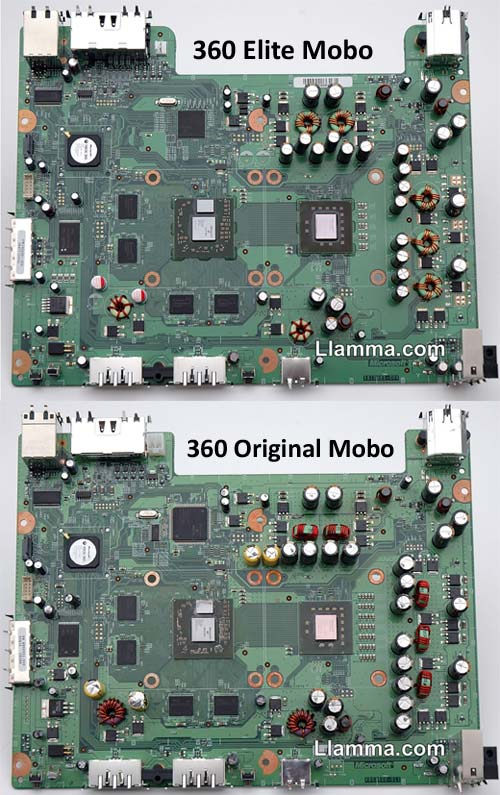 Xbox 360 vs. Elite Motherboards