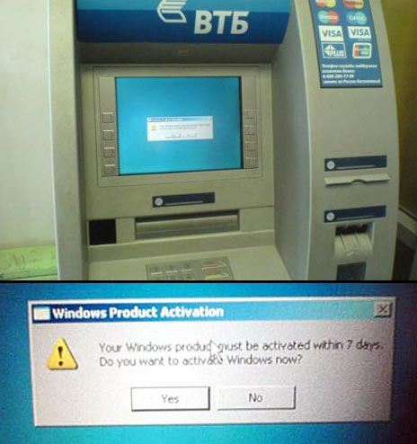 Russian ATM With Unactivated Windows