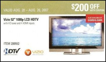 Costco Vizio 52-Inch LCD Coupon