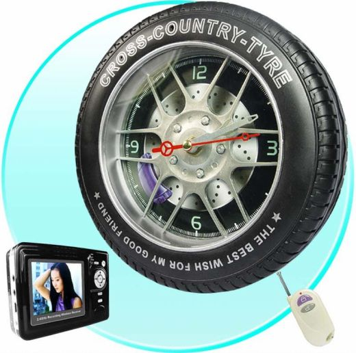 The Wireless Spy Camera That's Hidden in a Clock That Looks Like a Tire: Huh, Wha?