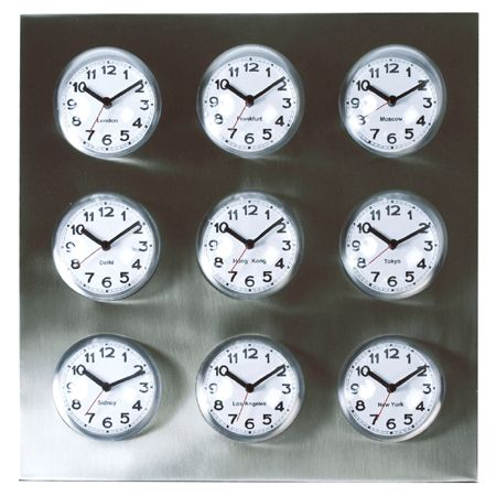 World Time Clock Tells Time With Nine Faces
