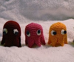 Hand Knit Pac-Man and Pals