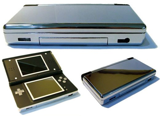 nintendo ds lite gets a chrome case technabob. Black Bedroom Furniture Sets. Home Design Ideas