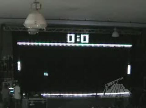 Pong on Giant LED Light Curtain