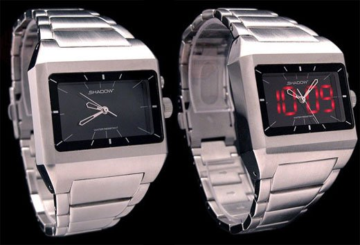 Stealth Shrewd LED Analog Stainless Watch