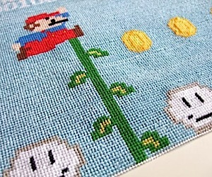 Mario Gets Crafty in Needlepoint