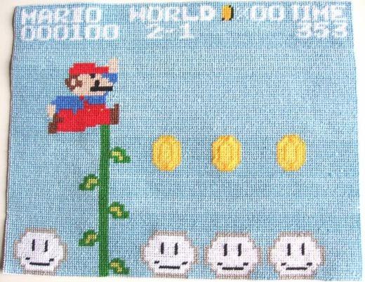 Mario Needlepoint by Lostmitten