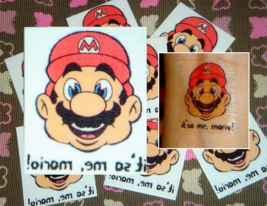 Temporary Tattoos WALLPAPERS Mario Temporary Tattoo.
