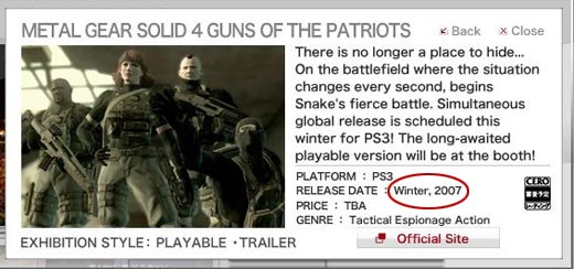 Metal Gear Solid 4 Release Date in 2007?