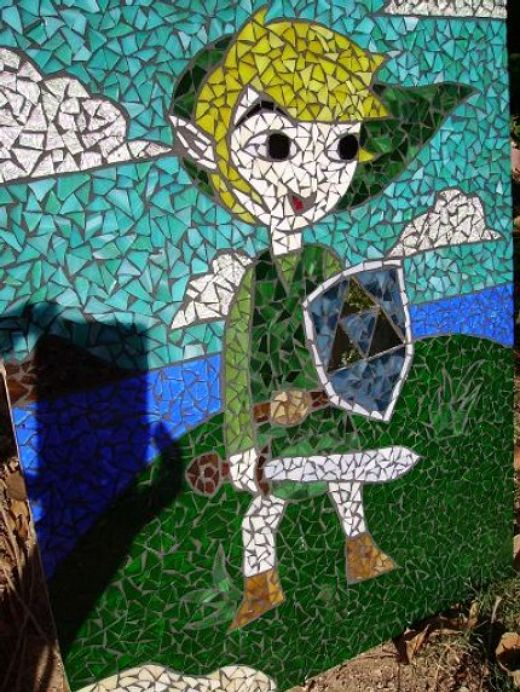 Zelda Link in Mosaic Stained Glass