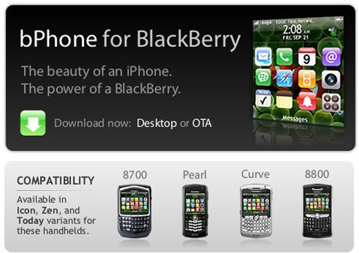 Bphone: Blackberry Mimics iPhone Ui