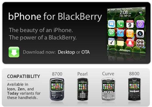 Bphone: Blackberry Mimics iPhone Ui
