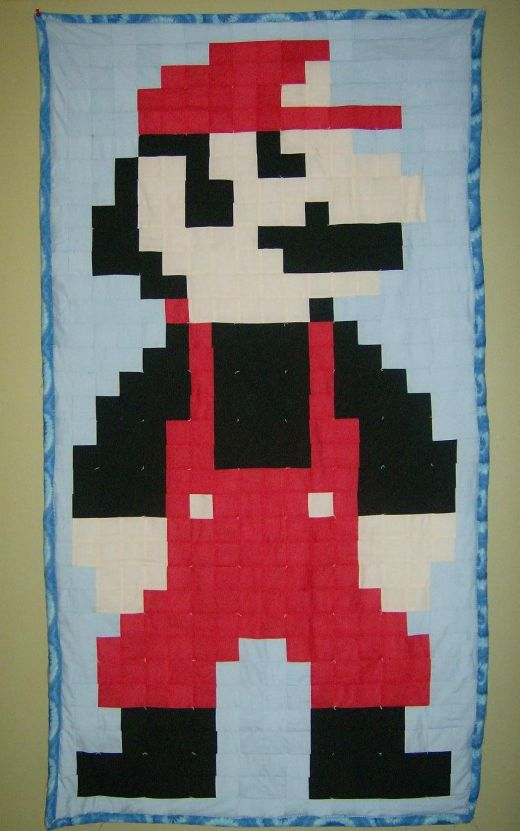 Mario Patchwork Quilt by Potatocraft