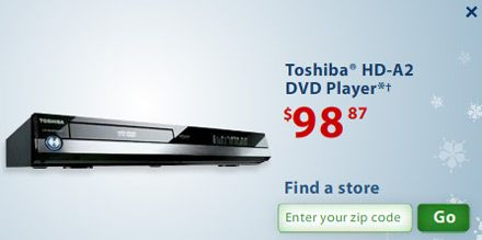 Toshiba HD DVD Players at Wal-Mart for Under $99