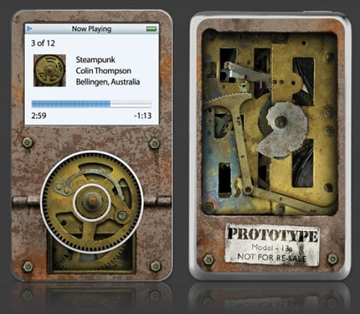 Steampunk iPod Skin Shows Off Player's Innards
