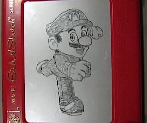 Mario Gets the Etch-a-Sketch Treatment