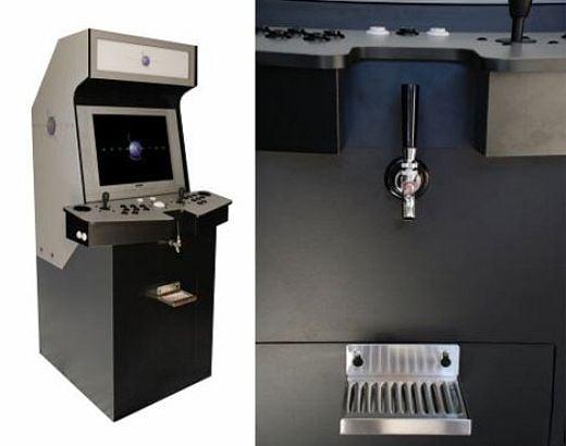Arcade Cabinet + Beer Keg = Geek Heaven