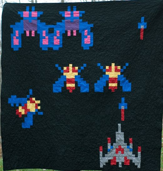 Galaga Quilt Keeps Aliens in Stitches