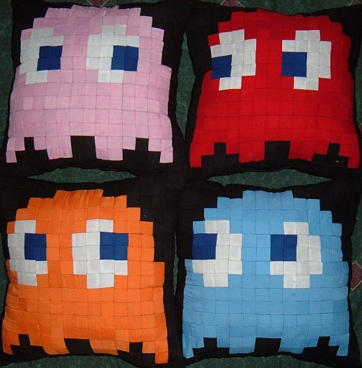 Pac-Man Ghost Pillows Get the Blues