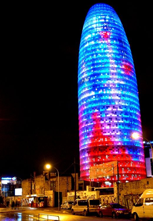 Barcelona's Agbar Tower Covered With LED Lighting