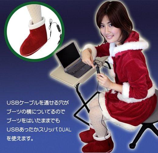 Ho Ho Hot: USB Santa Boots Warm Your Feet
