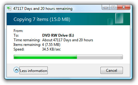 Windows Vista DVD Burn: Got 130 Years to Kill?