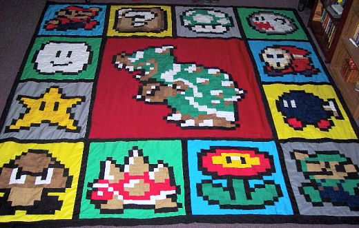 Super Mario Quilt by iddosteveperry