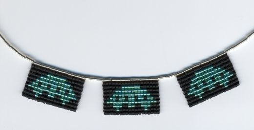 Space Invaders Necklace by pardalote
