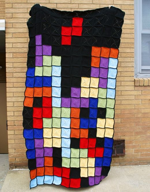 tetris afghan throw