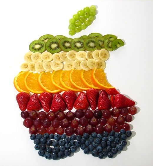 Apple logo made out of fruit