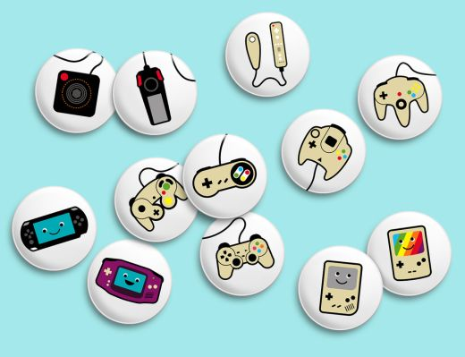 Video Game Buttons: Plenty of Flair to Wear