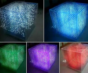 LED Cube Displays 3d Images in Color
