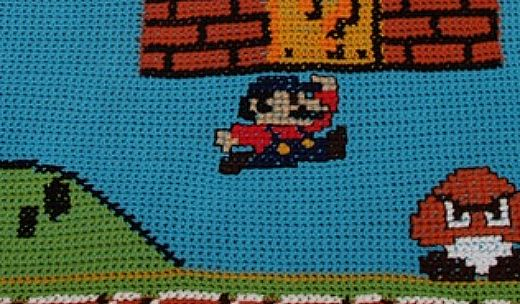 Super Mario Afghan Close Up