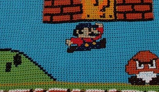 Super Mario Afghan Close Up