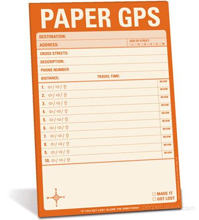 Paper GPS Navigation Notepad