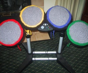 Rock Band Drum Kit Quieted by Crochet Covers