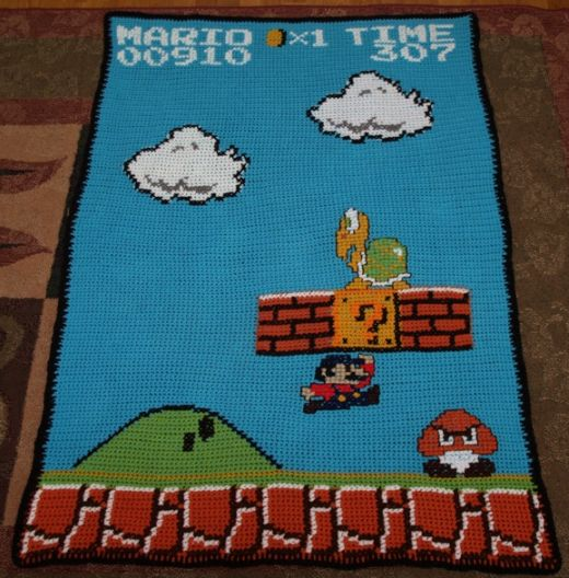 Super Mario Brothers Afghan Throw by Thomcatdesigns