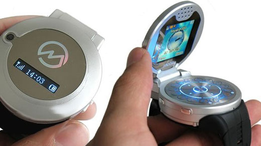 cell phone watch flips its lid technabob