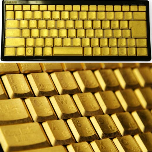 Handpainted Gold Leaf Keyboard