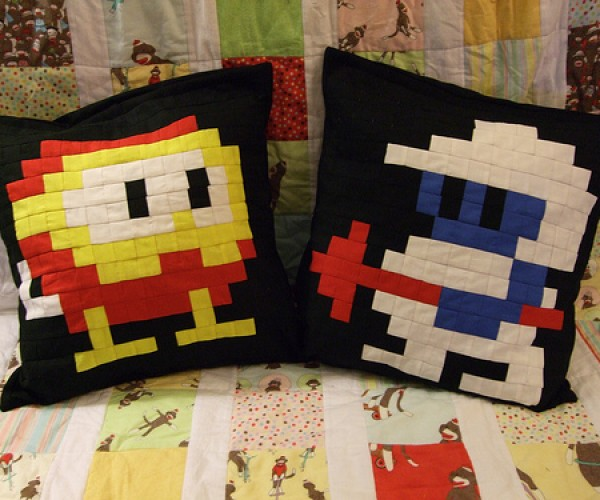 Pixelated Dig Dug Pillows Fight Your Inner Pookas
