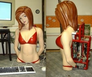 Creepy 3d Anime Girl is a Pc Casemod for Lonely Fellas